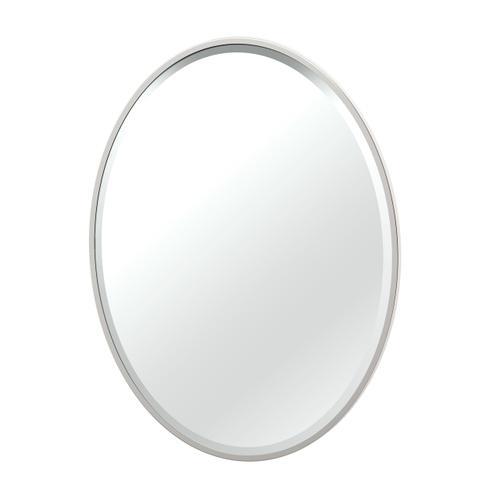 Flush Mount Framed Oval Mirror in Satin Nickel