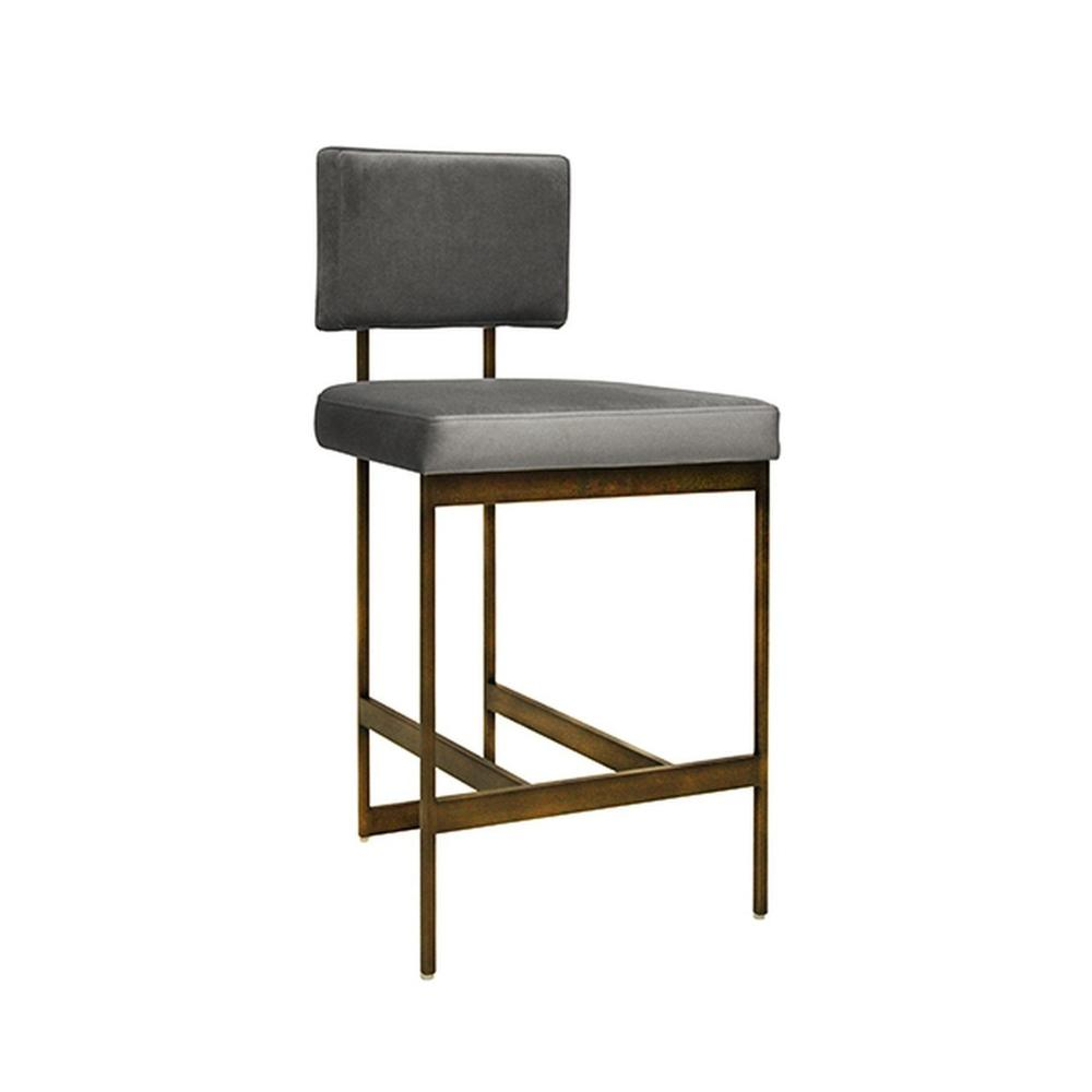 The Clean Lines and Simple Geometry of Our Baylor Counter Height Stool Are Inspired By Early European Modernists. A Luxurious Grey Velvet Cushion Pairs In Elegant Contrast To the Painted Bronze Base. Sturdy Back Handle Incorporated Into the Metal Frame for Easy Portability.