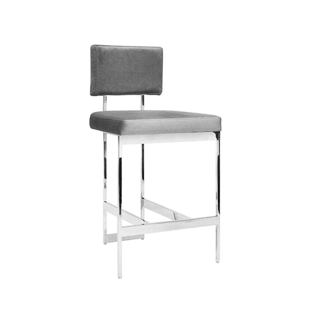 The Clean Lines and Simple Geometry of Our Baylor Counter Height Stool Are Inspired By Early European Modernists. A Luxurious Grey Velvet Cushion Pairs Elegantly With the Nickel Finish Base. Sturdy Back Handle Incorporated Into the Metal Frame for Easy Portability.