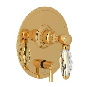 Pressure Balance Trim with Diverter - Italian Brass with Crystal Metal Lever Handle