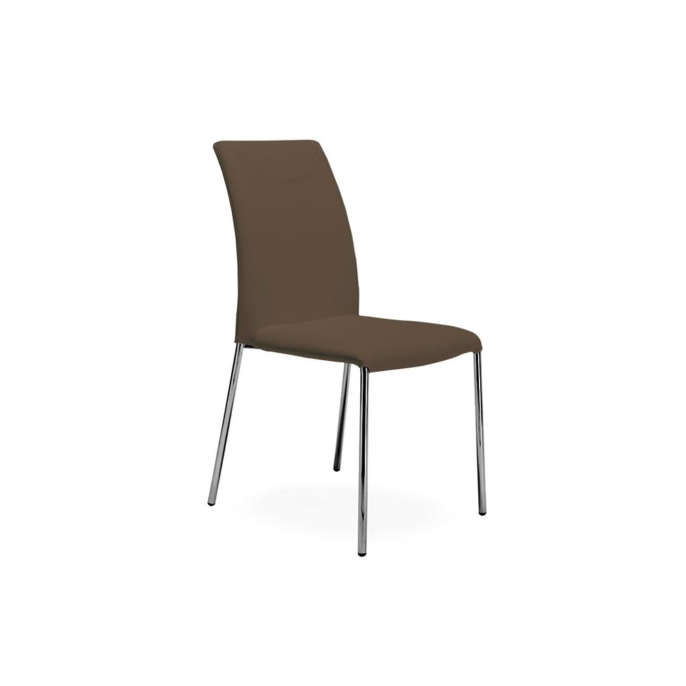 The Romi Dining Chair In Taupe Leather With Chrome Plated Base