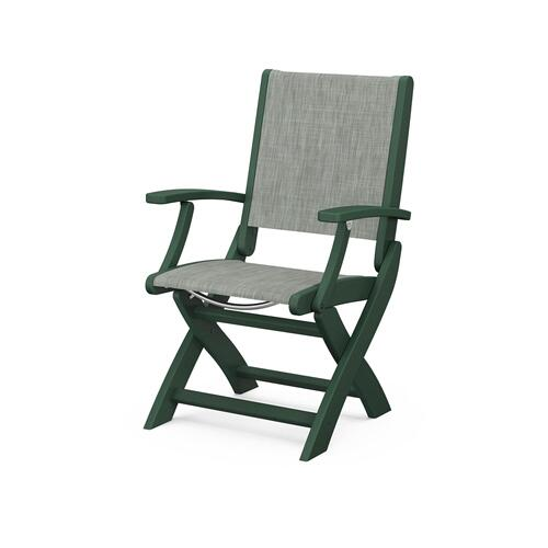 Polywood Furnishings - Coastal Folding Chair in Green / Birch Sling