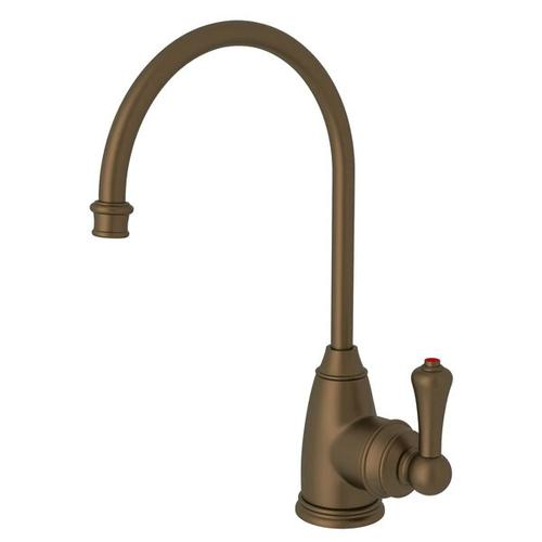 Georgian Era C-Spout Hot Water Faucet - English Bronze with Metal Lever Handle
