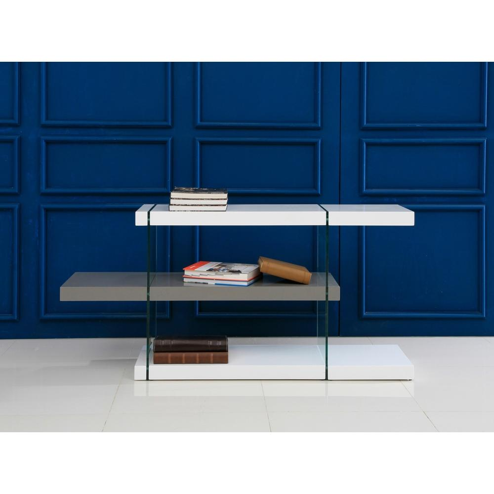 The Il Vetro Bookcase In High Gloss Gray And White Lacquer With Glass