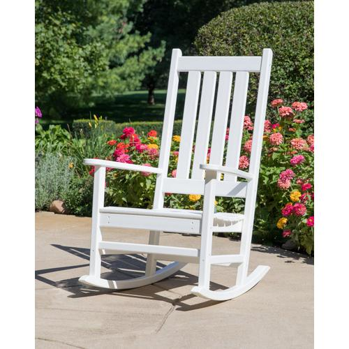 Vintage White Vineyard Porch Rocking Chair