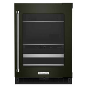 """KitchenAid24"""" Beverage Center with Glass Door and Metal-Front Racks - Black Stainless"""