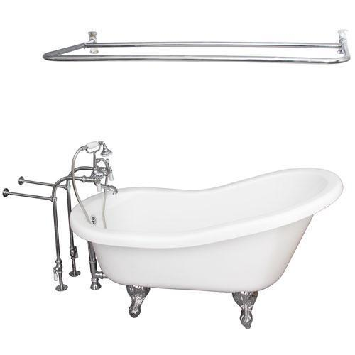 """Fillmore 60"""" Acrylic Slipper Tub Kit in White - Polished Chrome Accessories"""