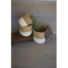 See Details - set of 3 white dipped seagrass hampers with handles