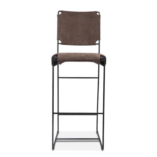 New York Bar Chair Asphalt Suede Leather