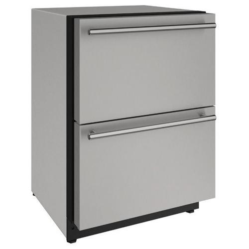 """U-Line - 2224dwr 24"""" Refrigerator Drawers With Stainless Solid Finish (115 V/60 Hz Volts /60 Hz Hz)"""