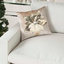 "Holiday Pillows L9966 Beige/gold 16"" X 16"" Throw Pillow"