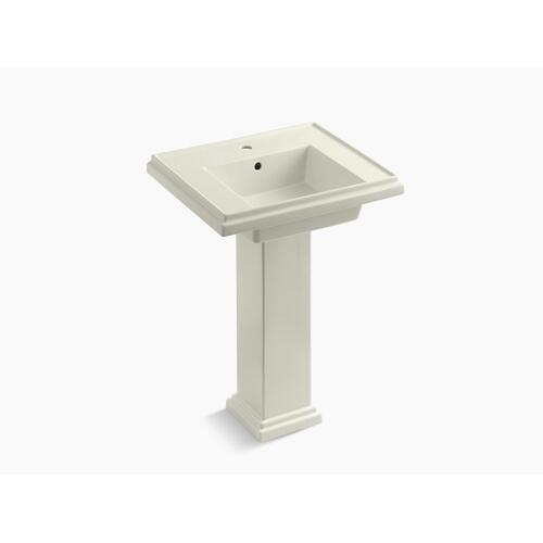 "Biscuit 24"" Pedestal Bathroom Sink With Single Faucet Hole"