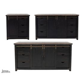 "Madison County 32"" Barn Door Accent Cabinet - Vintage Black"