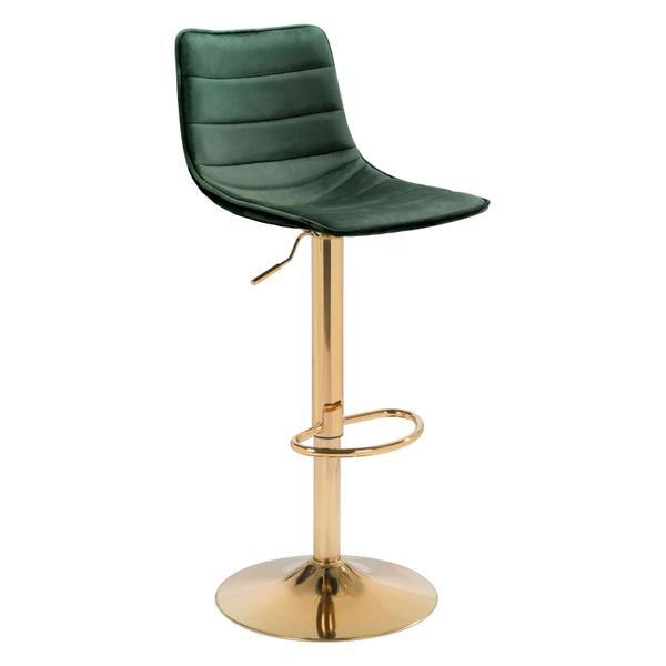 See Details - Prima Bar Chair Dark Green & Gold