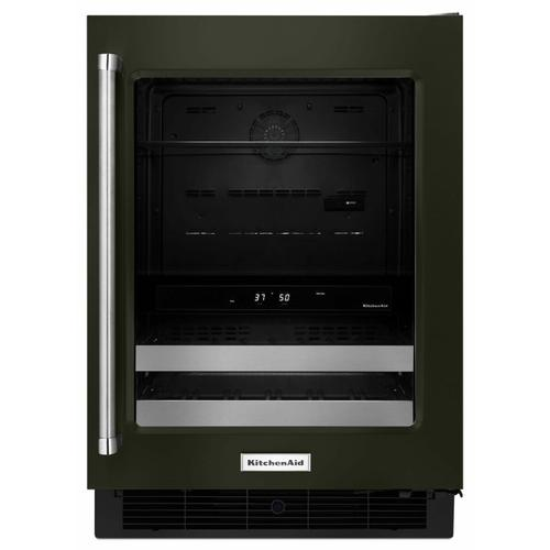 """KitchenAid - 24"""" Stainless Steel Beverage Center with SatinGlide® Metal-Front Racks - Black Stainless Steel with PrintShield™ Finish"""