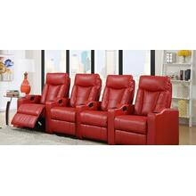 See Details - Camden Red Bonded Leather 4-Piece Reclining Theater Set
