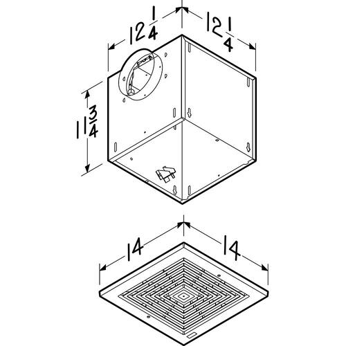 Broan - Broan® LOSONE SELECT™ 109 CFM High Capacity Ceiling Mount Ventilation Fan, 0.9 Sones