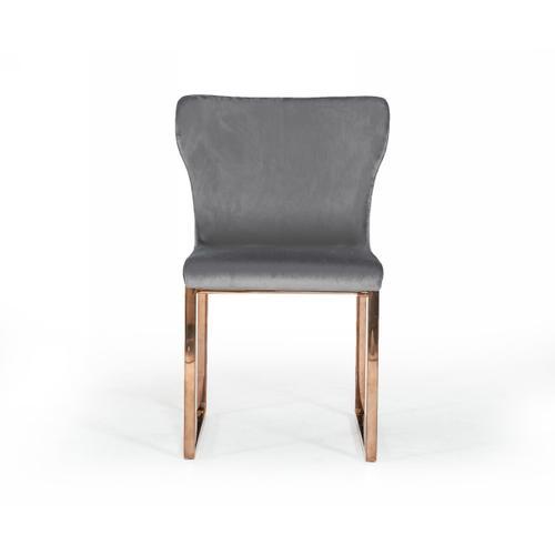 VIG Furniture - Modrest Chadwick Modern Grey Velvet & Rosegold Dining Chair