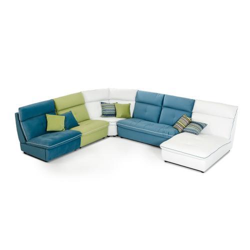 VIG Furniture - David Ferrari Spritz - Italian Modern White Leather + Blue + Green Fabric U Shaped Sectional Sofa