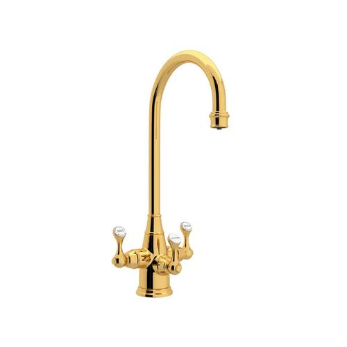 Georgian Era Filtration 3-Lever Bar and Food Prep Faucet - English Gold with Metal Lever Handle