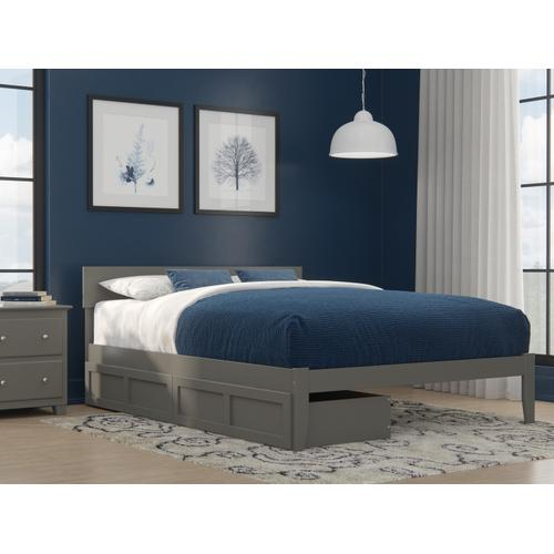 Boston Queen Bed with 2 Extra Long Drawers in Grey