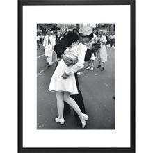 War Time Kiss (16 X 20) Black and White Print With Black Lacquer Frame