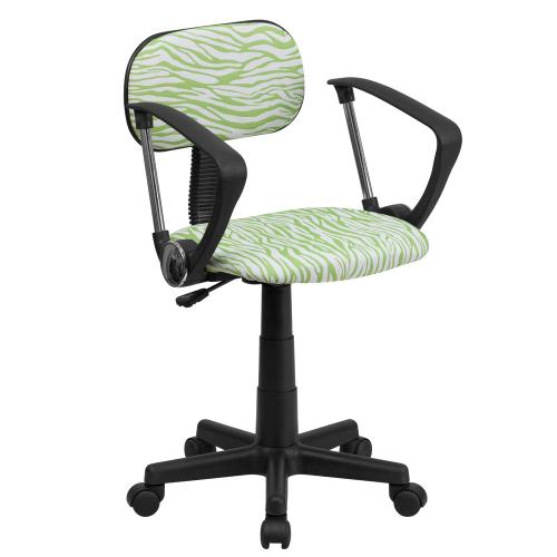 Green and White Zebra Print Swivel Task Chair with Arms