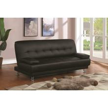 See Details - Contemporary Black and Chrome Sofa Bed