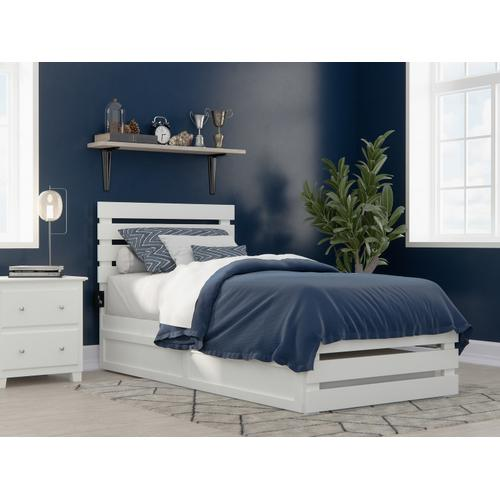 Oxford Twin Extra Long Bed with Footboard and USB Turbo Charger with Twin Extra Long Trundle in White