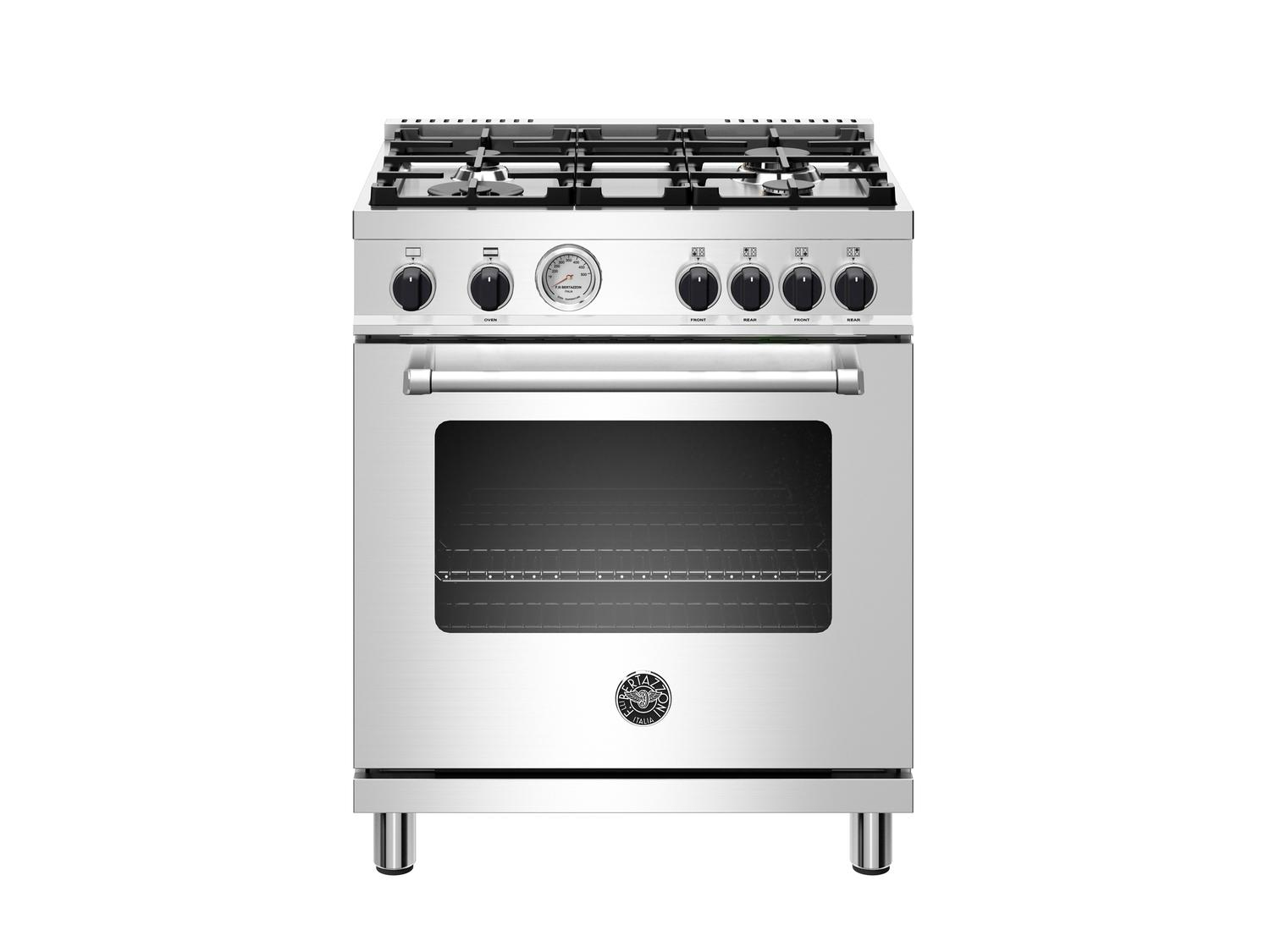 Bertazzoni30 Inch All Gas Range, 4 Burner Stainless Steel