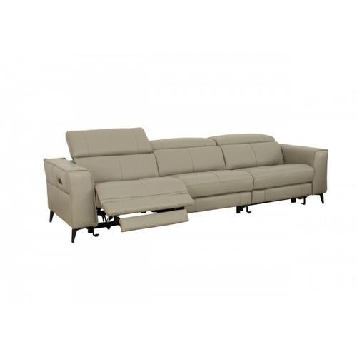 VIG Furniture - Divani Casa Nella - Modern Light Grey Leather 4-Seater Sofa w/ Electric Recliners