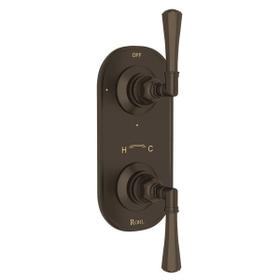 San Giovanni Trim for 1/2 Inch Thermostatic and Diverter Control Rough Valve - Tuscan Brass with Metal Lever Handle