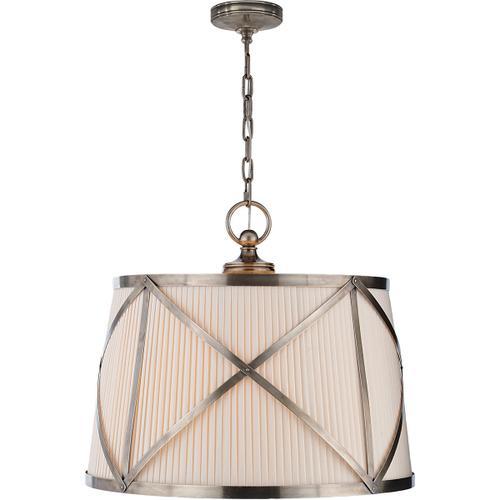 Visual Comfort - E. F. Chapman Grosvenor 3 Light 24 inch Antique Nickel Hanging Shade Ceiling Light