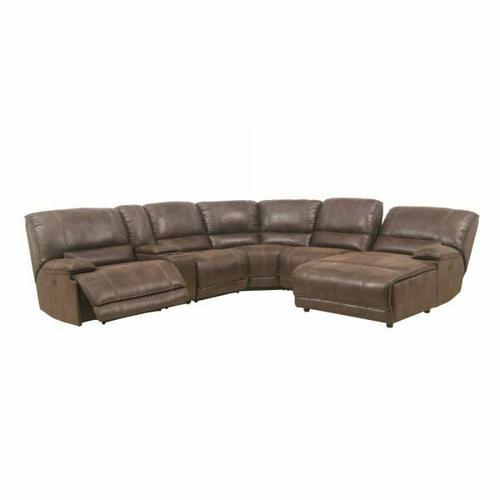 ACME Hibiscus Sectional Sofa (Power Motion) - 53075 - Brown Polished Microfiber