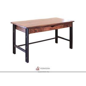 See Details - Writing Desk, Parota Wood & Iron Legs
