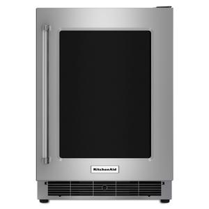 "KitchenAid24"" Undercounter Refrigerator with Glass Door and Metal Trim Shelves Stainless Steel"