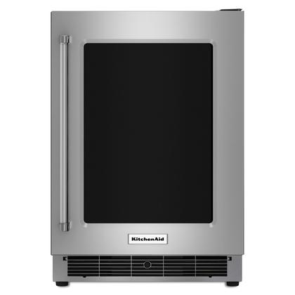 """24"""" Undercounter Refrigerator with Glass Door and Metal Trim Shelves Stainless Steel"""