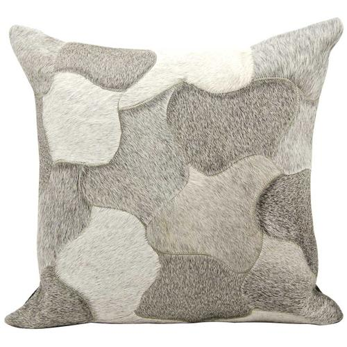 """Natural Leather Hide C4600 Silver 20"""" X 20"""" Throw Pillow"""