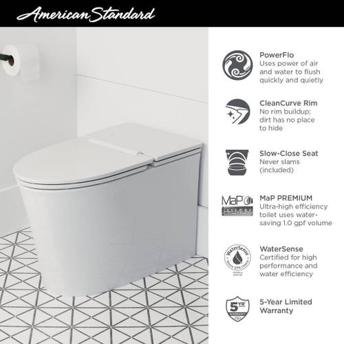 American Standard - Studio S Low-Profile One-Piece Toilet with Seat  American Standard - White