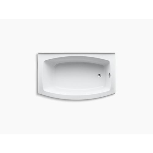 "White 60"" X 32-38"" Alcove Bath With Curved Integral Apron and Right-hand Drain"