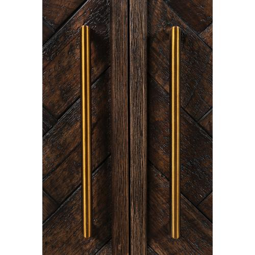 Gramercy Dark Chevron 4 Door Accent Cabinet