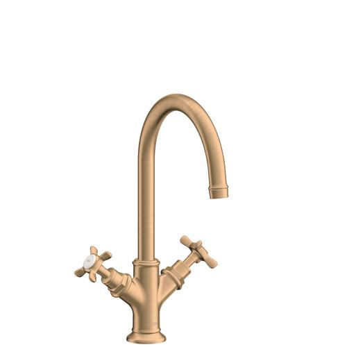 Brushed Bronze 2-handle basin mixer 210 with cross handles and pop-up waste set