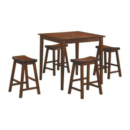 See Details - 5-Piece Pack Counter Height Set, Warm Cherry