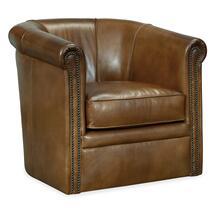 View Product - Axton Swivel Leather Club Chair