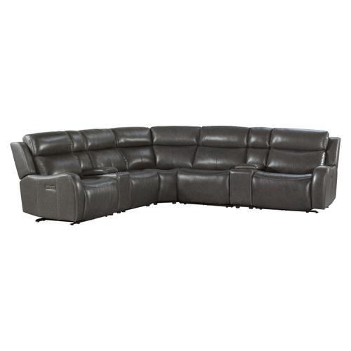 Intercon Furniture - Wainwright Dual-Power Sectional Set  Charcoal Gray