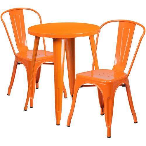 24'' Round Orange Metal Indoor-Outdoor Table Set with 2 Cafe Chairs