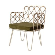 """Product Image - 21.25""""W x 18.5""""D x 40""""H Metal & Rattan Chair with Olive Color Velvet Cushion"""