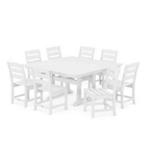 Polywood Furnishings - Lakeside 9-Piece Farmhouse Trestle Dining Set in White