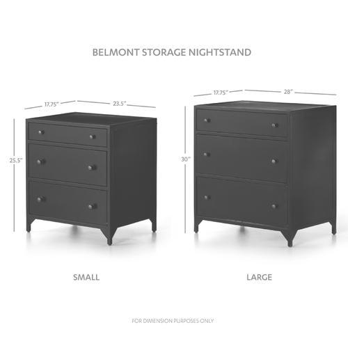Large Size Gunmetal Finish Belmont Storage Nightstand
