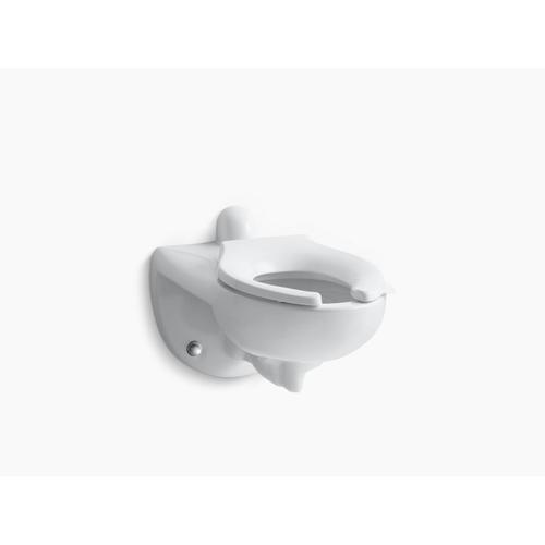 White Wall-mounted Rear Spud Flushometer Bowl